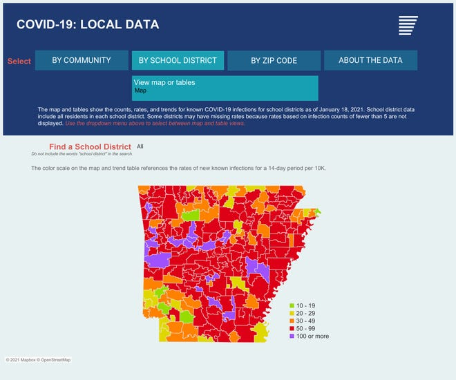 A COVID-19 heat map from the Arkansas Center for Health Improvement shows the activity levels of the virus in school districts over the past 14-day period per 10,000 district residents.