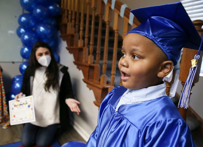 Justiss Moore was one of two boys who graduated Thursday, Jan. 21, 2021, form the Arts 'n Autism ILEAP program, which is a pre-k preparatory program in its first year designed to help children with autism learn the skills needed for pre-school. [Staff Photo/Gary Cosby Jr.]