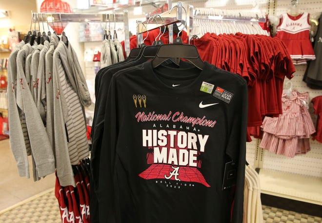 A variety of merchandise celebrating the University of Alabama's 18th national football championship is seen inside BamaStuff Friday, Jan. 22, 2021. [Staff Photo/Gary Cosby Jr.]