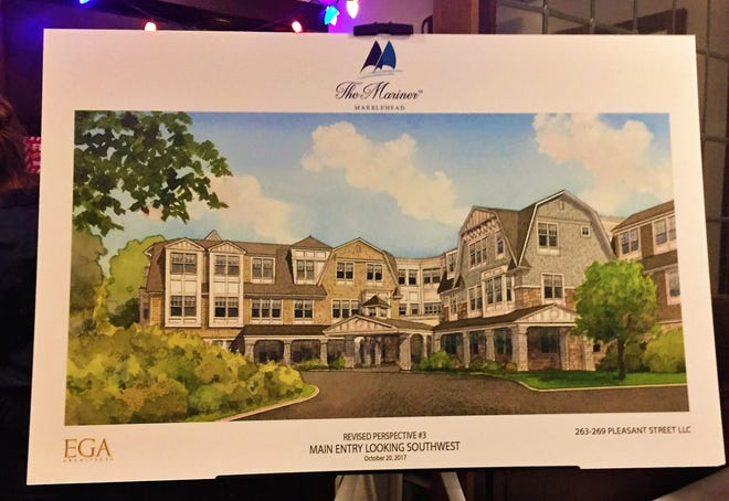 A drawing of what the main entrance of The Mariner, an assisted living facility planned for Pleasant Street, will look like.