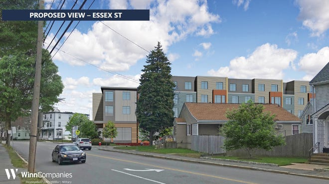A schematic drawing looking at WinnDevelopment's proposed 128-unit apartment complex at 21 Elm Place.