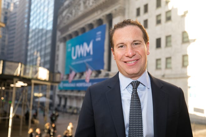 United Wholesale Mortgage Holdings Corp. CEO Mat Ishbia stands outside the New York Stock Exchange on Friday when the Pontiac-based mortgage lender went public.