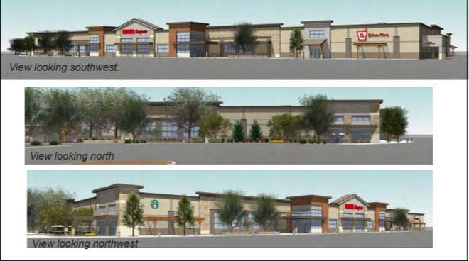 Three views of the proposed King Soopers at Drake Road and South College Avenue.