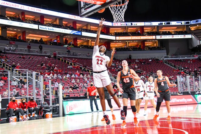 Louisville forward Elizabeth Dixon goes up for a lay up against Syracuse on Thursday.