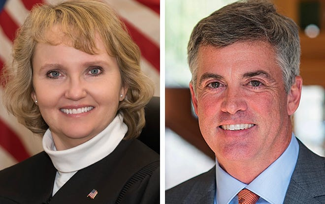 Judge Shelley Grogan, left, and Judge Jeffrey Davis are facing off in an April election for District II Court of Appeals.