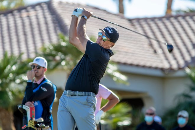 Phil Mickelson tees off on the 13th hole of the Nicklaus Tournament Course at PGA West during the first round of The American Express in La Quinta, Calif., on January 21, 2021.
