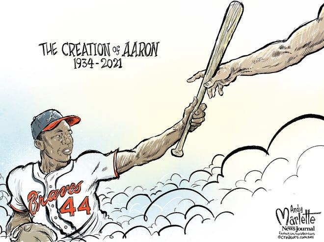"Marlette cartoon: In tribute to the immortal American icon, ""Hammerin"" Hank Aaron"