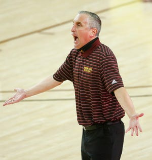 Jan 21, 2021; Tempe, Arizona, USA; ASU's head coach Bobby Hurley argues with an official during the second half against Arizona at ASU. Mandatory Credit: Patrick Breen-Arizona Republic