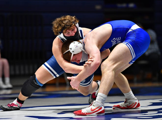 Spring Grove's Tommy Dressler, front, and Dallastown's Brooks Gable wrestle in the 189-pound weight class at Dallastown Area High School in York Township on Thursday, Jan. 21, 2021. Gable won the match, 3-2. Gable is 11-0 on the season. Dressler is 10-1, with his only loss to Gable. Dawn J. Sagert photo