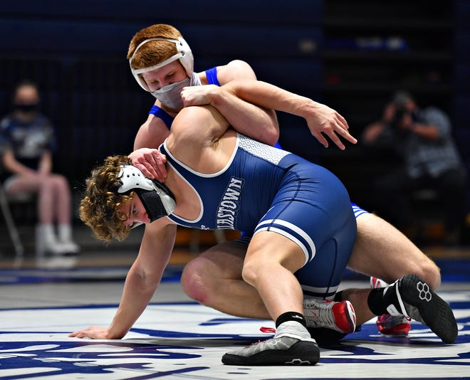 Spring Grove's Thomas Dressler, back, battles Dallastown's Brooks Gable earlier this season. Both Dressler and Gable won District 3 Class 3-A Section 4 titles on Saturday.