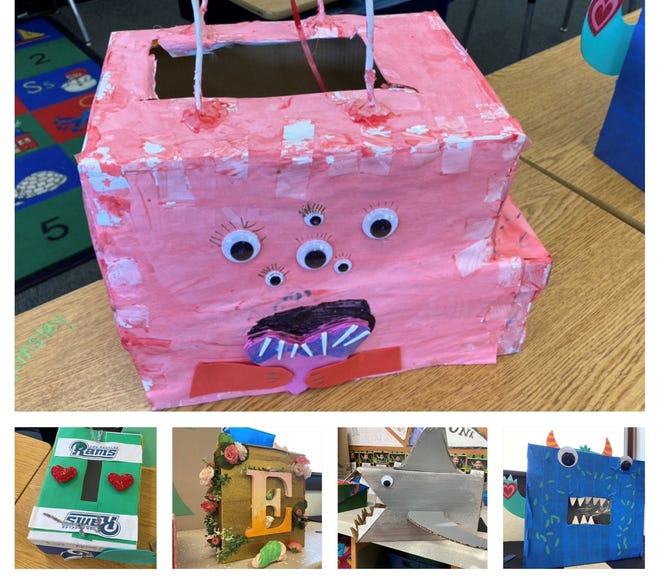 Boxes to hold Valentine's Day card made by Washoe County School DIstrict students in 2020.