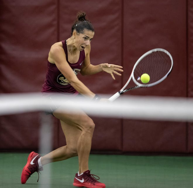 Florida State's Emmanuelle Salas returns the ball. The Florida State Seminoles will be facing their ACC opponents, Georgia and Clemson all weekend.