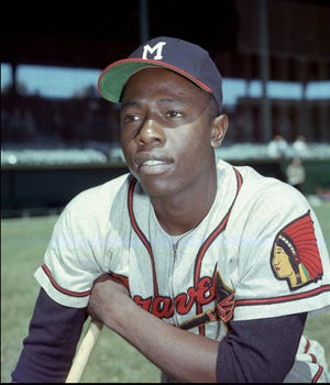 Aaron in 1957 with the Milwaukee Braves.