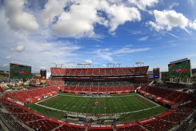 A general view of the Tampa Bay Buccaneers playing against the Minnesota Vikings at Raymond James Stadium.