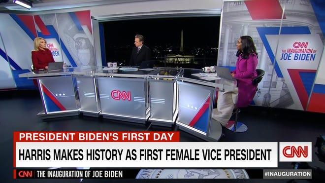 Dana Bash, left, Jake Tapper and Abby Phillip anchor CNN's coverage of President Joe Biden's inauguration on Jan. 20.