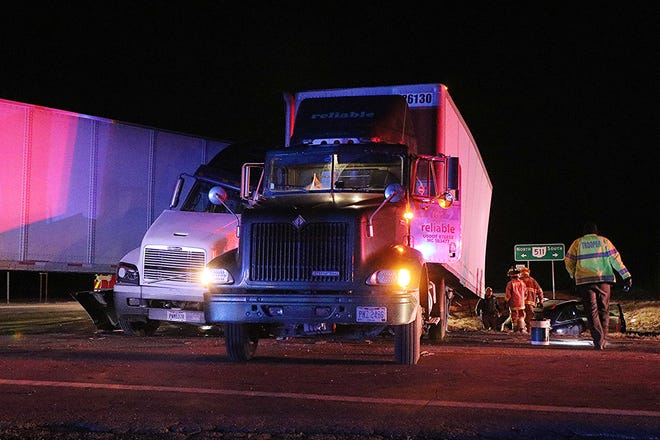 Two semitrailers collided at U.S. Route 30 and state Route 511 Friday night, closing portions of the highways for about three hours.