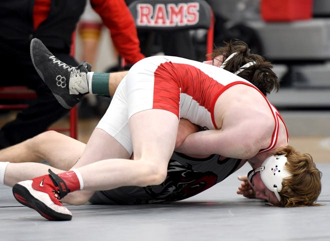 Christian Eslick won an individual Heart of Iowa Conference championship for Roland-Story at the conference wrestling meet Friday in Jefferson. Kade Blume (106) also placed first for the Norsemen.