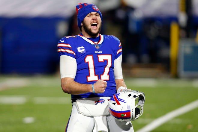Buffalo quarterback Josh Allen celebrates after the Bills' divisional round win against Baltimore.