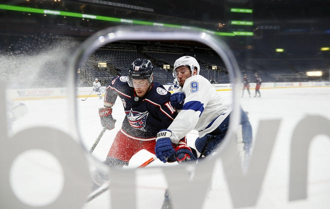 Blue Jackets center Pierre-Luc Dubois (18) played only five shifts against the Tampa Bay Lightning on Thursday before being benched for the final 45-plus minutes.