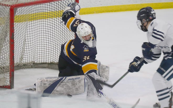 Crookston coach Josh Hardy thought goaltender Carter Nelson played well despite giving up nine goals in the Pirates' 12-2 loss at Bemidji Friday night.