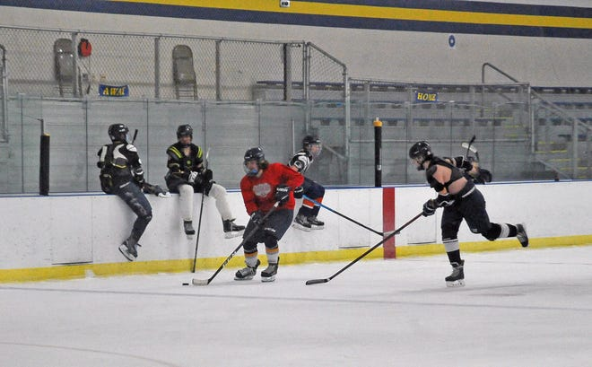 Wooster High School hockey player brings the puck up the court. Youth programs like the Junior Oilers are key for Alice Noble Ice Arena's financial health as those who become involved early often become lifelong skaters, says Seth Greenberg, general manager.