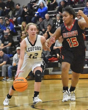 Ledford's Morgan Harrison is shown here in action against Salisbury last season. Harrison and the Panthers won again on Friday. [David Yemm for The Dispatch]