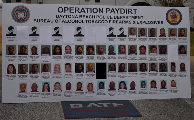 More than 60 people were charged in Operation Pay Dirt in which Daytona Beach Police and the Bureau of Alcohol Tobacco Firearms and Explosives targeted illegal drugs and guns.