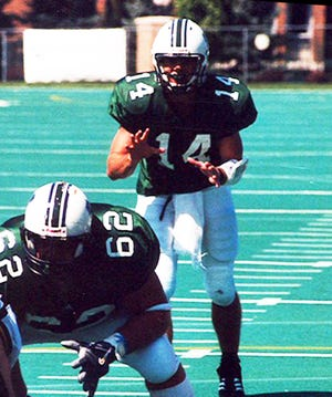 Mercyhurst University quarterback Brandon Staley prepares to take a shotgun snap in a game during the Lakers' 2005 season. Staley was hired last week as coach of the NFL's Los Angeles Chargers.
