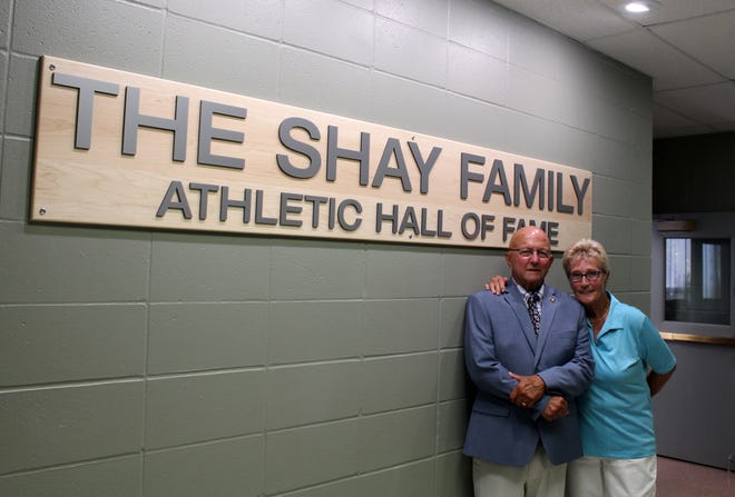 Jon Shay, pictured here with his wife, Linda, at the opening of The Shay Family Athletic Hall of Fame at Alfred State College in July 2020.