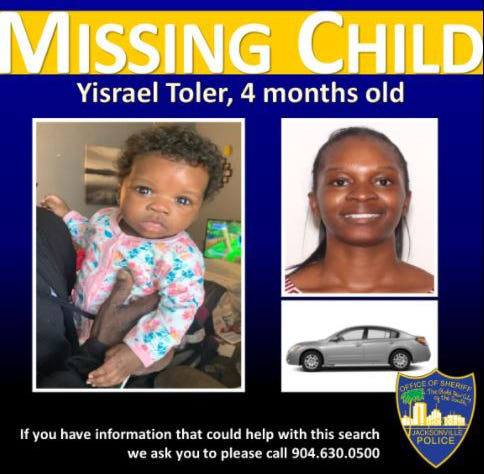 Jacksonville police say a missing 4-month-old girl and her mother were found safe Saturday. The Florida Department of Law Enforcement had issued a statewide missing child alert for Yisrael Joy Toler of Jacksonville who the agency said was last seen Jan. 8 in the 1400 block of West 32nd Street in the Moncrief Park neighborhood on the city's Northside. Police didn't say where Yisrael and her mother, Evelyne Idella Franzua, were located.