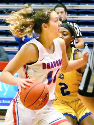 Hutchinson Community College's Kate Ogle (14) drives past Bethany Junior Varsity's Ambreenique Williams (2) during their game Friday night at the Sports Arena. HCC defeated Bethany Junior Varsity 92-34 in HCC's home opener.