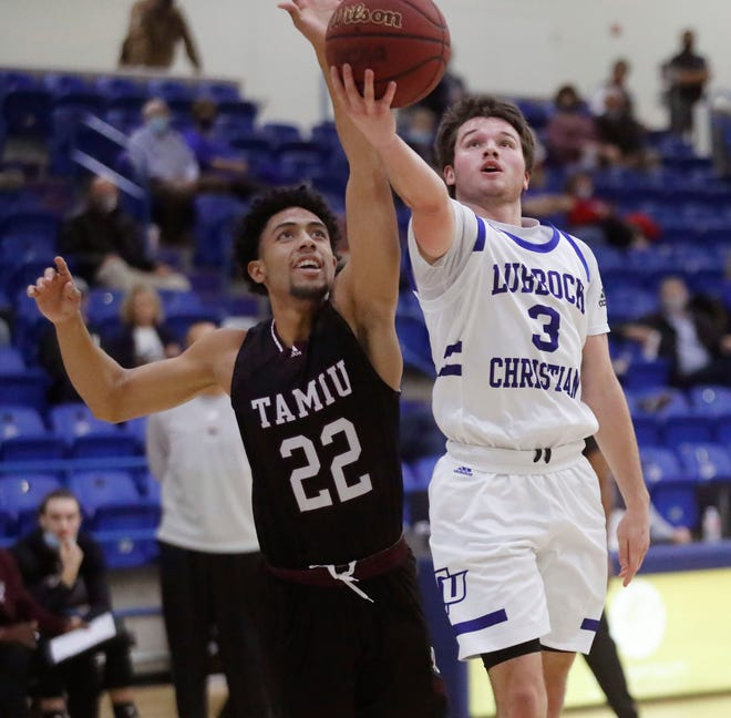 LCU point guard Cameron Copley (3) goes in for a layup during the Chaparrals' 86-38 rout of Texas A&M International on Friday at the Rip Griffin Center. Copley leads the Lone Star Conference and ranks fifth in NCAA Division II in assists per game, helping the Chaps to an 8-0 start and No. 14 ranking by the National Association of Basketball Coaches.