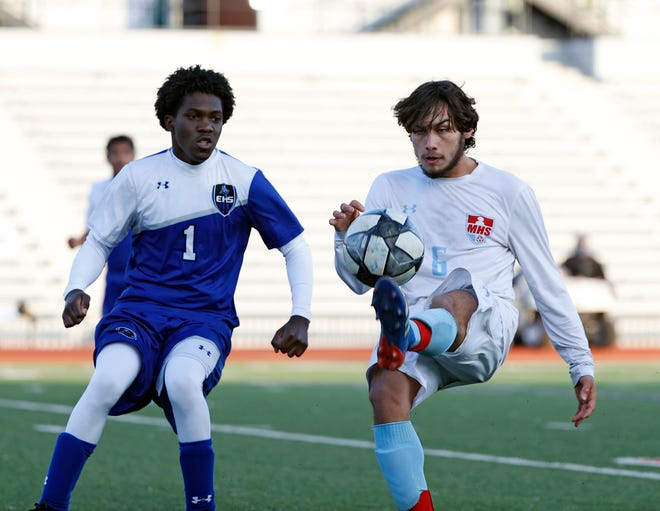 Monterey's Luke Holt (6) kicks the ball during the match against Estacado on Jan. 22 at PlainsCapital Park at Lowrey Field.