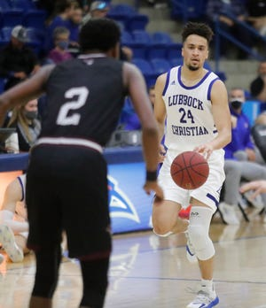 Lloyd Daniels (24), pictured here in a game last month, was one of three Lubbock Christian University players who scored 15 points Thursday night in an 80-65 home victory over Western New Mexico. The fourth-ranked Chaparrals improved to 13-0, the program's best record to start a season.