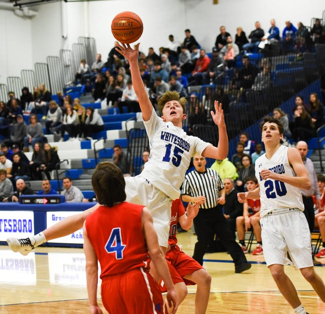 Whitesboro's Caden Morris (15) puts up a shot in January 2020.  Section III teams will get the chance to play starting in February.