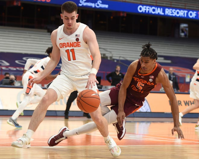 Syracuse guard Joseph Girard III (11) changes direction against Virginia Tech forward David N'Guessan on Saturday at the Carrier Dome.