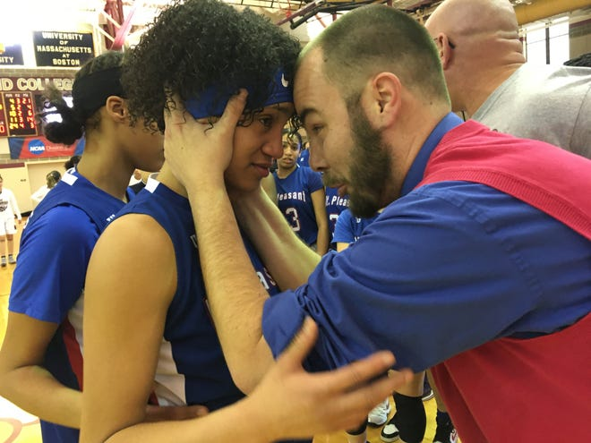 Mount Pleasant coach Zac Pinto (right) celebrated with Francheska Contreras after winning the Division III title last year. Will another title be in the works for the Kilties this year? Now, armed with a program with players committed to basketball, Mount Pleasant certainly hopes so.