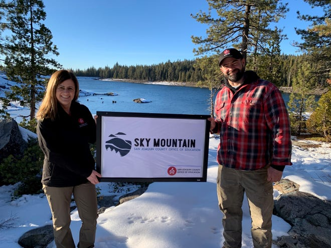 San Joaquin County Office of Education STEM Director Annie Cunial With project leader Neil Saunders at Sky Mountain Outdoor Education Center.