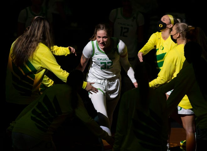 Oregon's Sedona Prince is introduced as a starter before the game against Washington State.