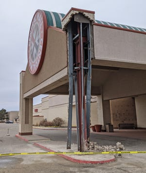 The structure to the front entrance of the Central Mall in Salina was damaged after a vehicle ran into it on Friday evening. The mall is asking for community members to use the other entrances to the mall as the main entrance will be closed.