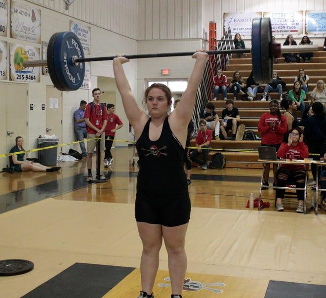Tara Yount of Port Charlotte won the FHSAA Girls Weightlifting Meet Class 2A 183-pound class Saturday.