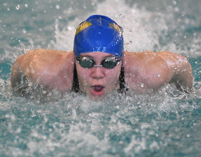 Laney's Jenna Grill competes in the 100-yard butterfly during the Mideastern Conference swim championships at Brunswick Community College in Bolivia, N.C., Saturday, January 23, 2021.  [MATT BORN/STARNEWS]