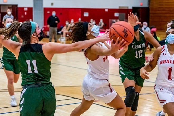 Quiomarie Vazquez attacks the basket for New Bedford.
