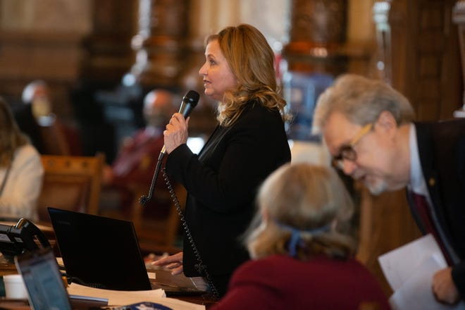 Senator Caryn Tyson, R-Parker, debates a bill during the final day of the 2020 legislative session. Tyson is leading an effort to slash income taxes for many residents and businesses, which is opposed by some.