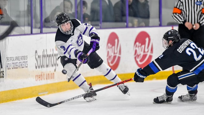 Holy Cross senior defenseman Frank Boie scored his first goal of the season in Friday night's home loss to Army.