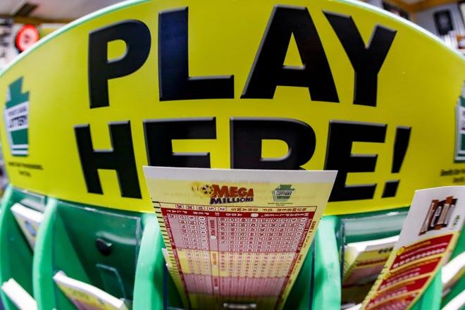 A Mega Millions playslip in Pennsylvania. A winning ticket was sold in Michigan for Friday's $1 billion jackpot.
