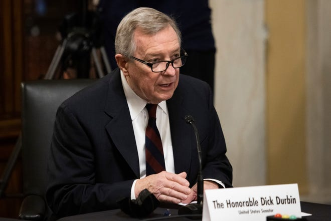 Sen. Dick Durbin, D-Ill., introduces Secretary of State nominee Antony Blinken during his confirmation hearing to be Secretary of State before the Senate Foreign Relations Committee Tuesday in Washington.