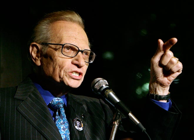 In this 2007 file photo, Larry King speaks to guests at a party held by CNN, celebrating King's fifty years of broadcasting in New York.