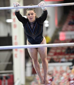 Florida's Megan Skaggs competes Friday against Arkansas. Skaggs claimed her first SEC Gymnast of the Week honor Tuesday after picking up her first all-around title last week.