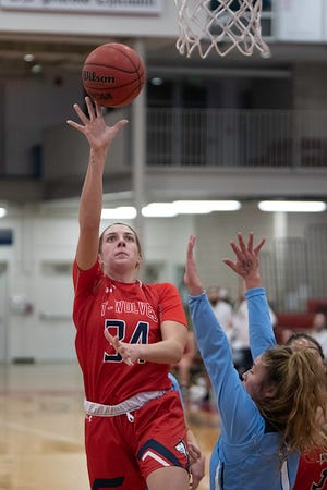 CSU Pueblo's Aubriana Noti goes up high for a layup against Fort Lewis on Friday, Jan. 22, 2021 at Massari Arena. The Pack dropped another game Saturday to Black Hills State.